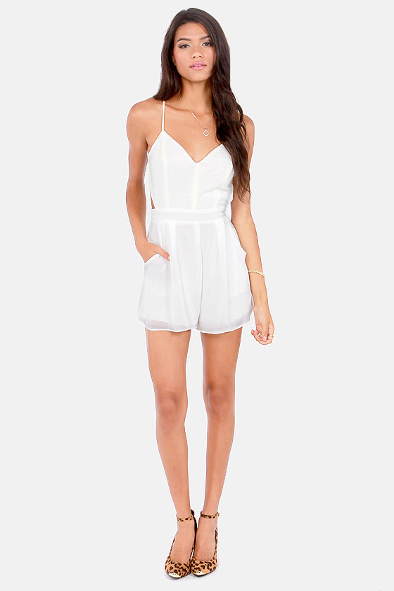 Sealed With a Kiss Backless Ivory Romper at Lulus.com!