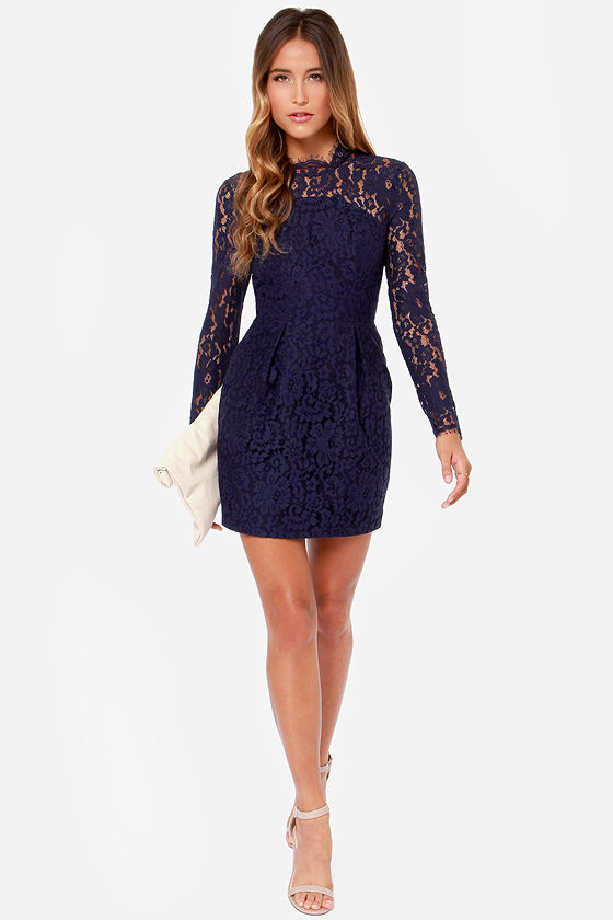 Dark Blue Lace Long Sleeve Dress The Best Style Dress In 2018