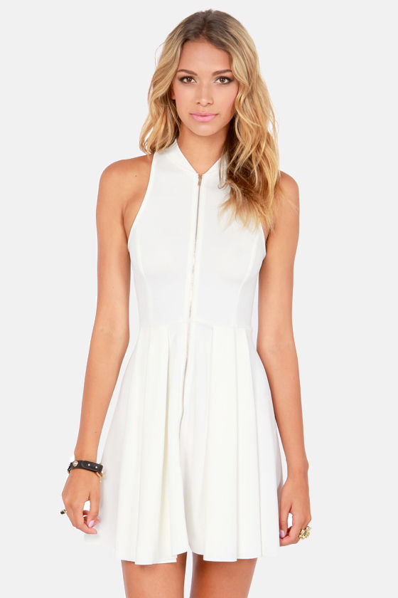 Tilt-a-Twirl Sleeveless Ivory Dress at Lulus.com!