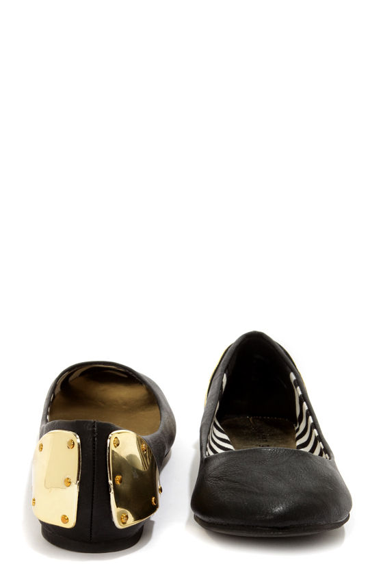 Madden Girl Harrley Black and Gold-Plated Ballet Flats at Lulus.com!