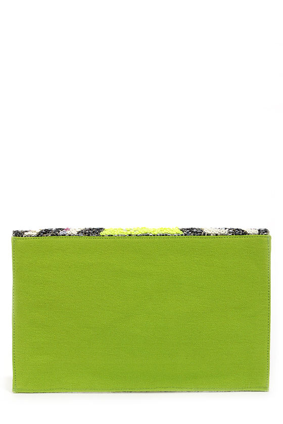 Tribal Tides Lime Beaded Envelope Clutch at Lulus.com!