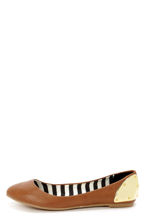 Madden Girl Harrley Cognac and Gold-Plated Ballet Flats