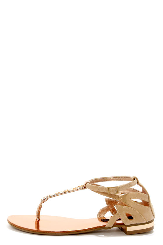 Dollhouse Defy Nude Cutout Rhinestone Thong Sandals at Lulus.com!
