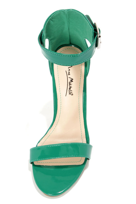 Anne Michelle Perton 17 Emerald Green Patent Single Strap Heels at Lulus.com!
