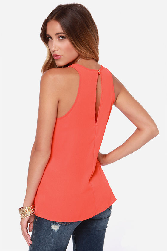 At First Crush Red Orange Top at Lulus.com!
