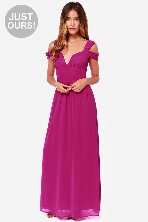 Elegant Magenta Dress Maxi Dress Prom Dress