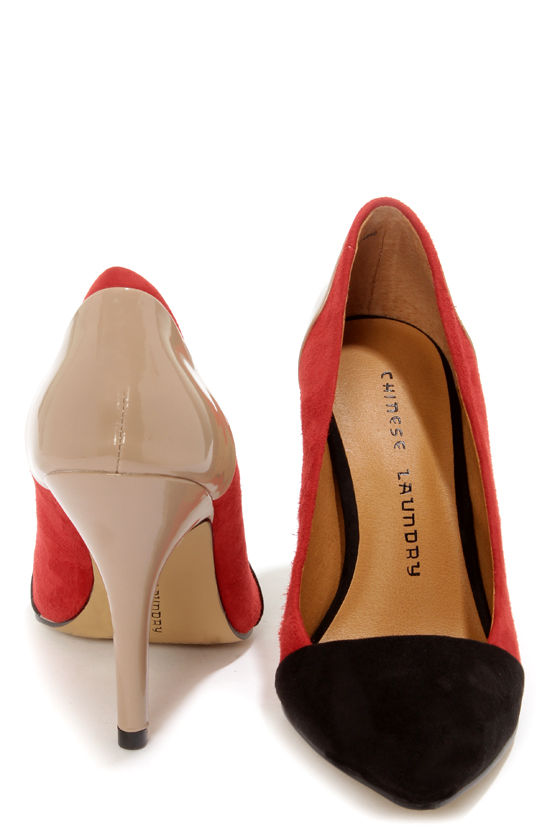 Chinese Laundry Serendipity Red, Black, and Beige Pointed Pumps at Lulus.com!