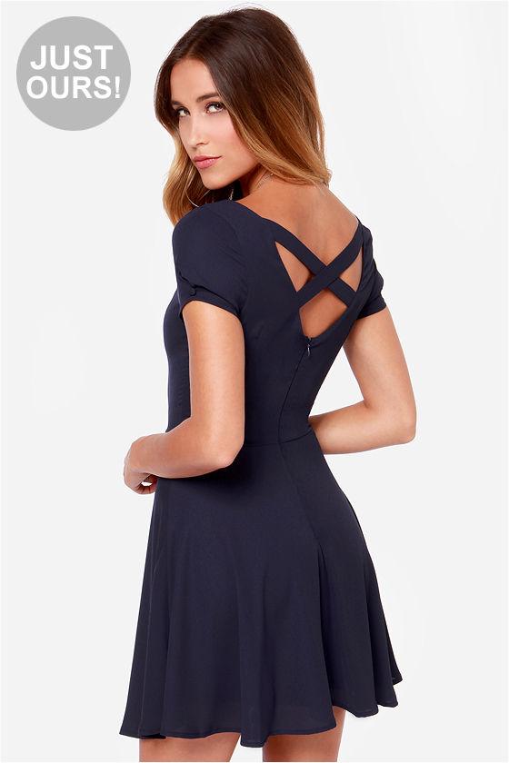 Pretty Navy Blue Dress - Short Sleeve Dress - $42.00