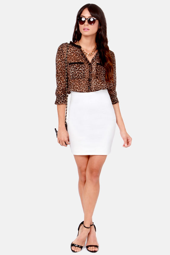 High Roller High-Waisted White Mini Skirt at Lulus.com!