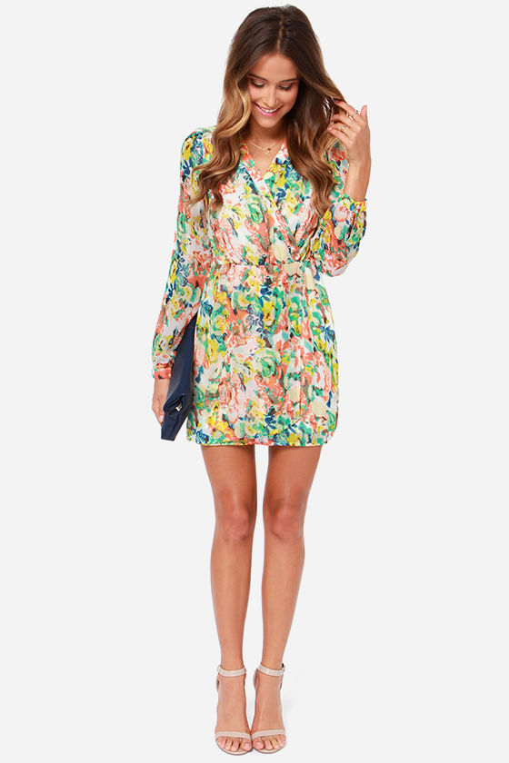 LULUS Exclusive Falling for Hue Ivory Print Wrap Dress at Lulus.com!