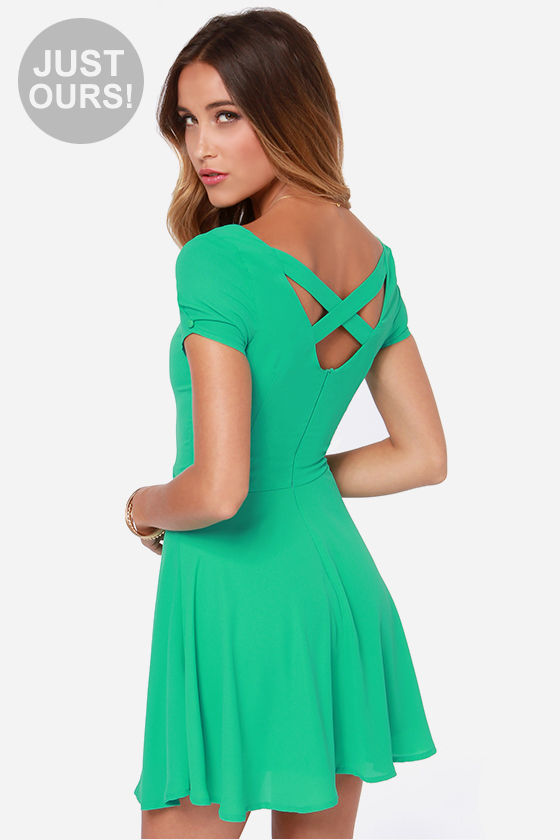 Pretty Green Dress - Short Sleeve Dress - $42.00