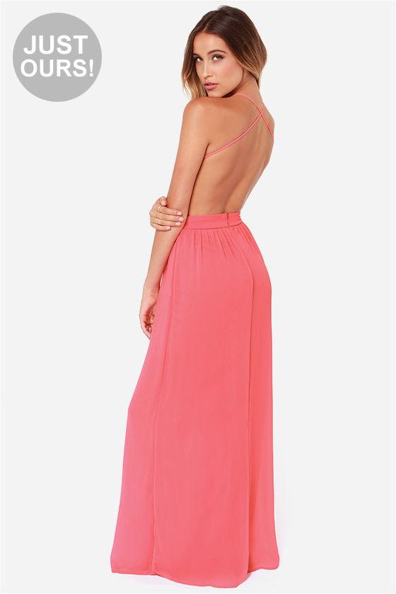 Sexy Backless Dress Coral Dress Maxi Dress 49 00