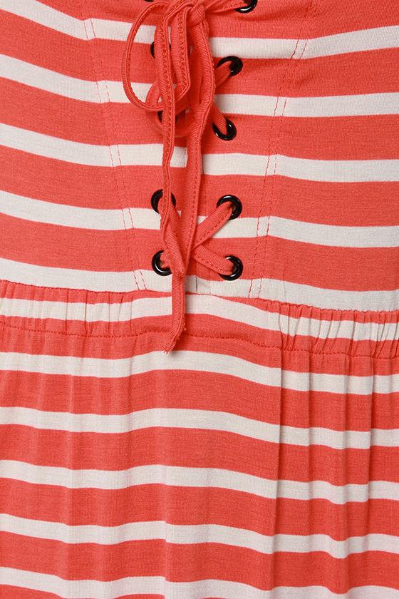 Volcom Play Along Orange Striped Babydoll Dress at Lulus.com!
