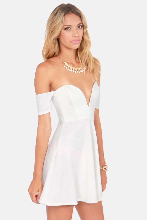 Spin and Dip Off-the-Shoulder Ivory Dress at Lulus.com!
