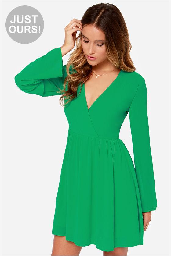 Cute Long Sleeve Dress - Green Dress - Wrap Dress - $42.00