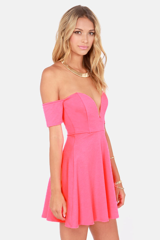 Spin and Dip Off-the-Shoulder Neon Pink Dress at Lulus.com!