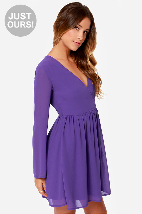 03ed95e86d41 Cute Long Sleeve Dress - Purple Dress - Wrap Dress -  42.00