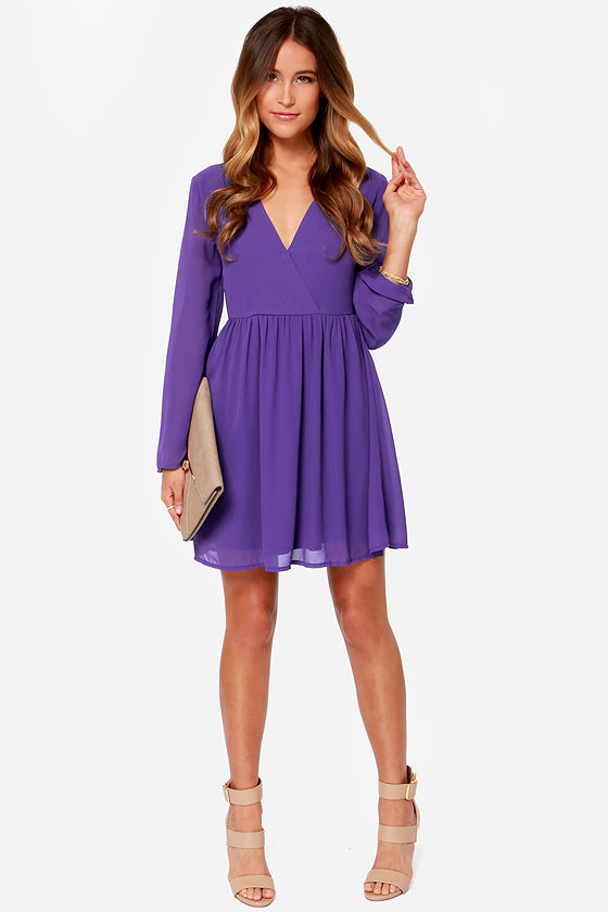 Cute Long Sleeve Dress - Purple Dress - Wrap Dress - $42.00