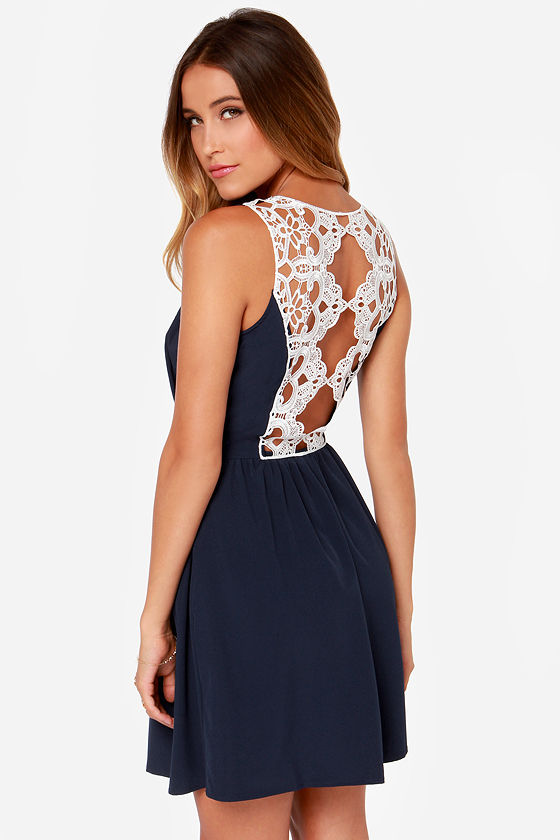 Deep Sea Diva Navy Blue Lace Dress