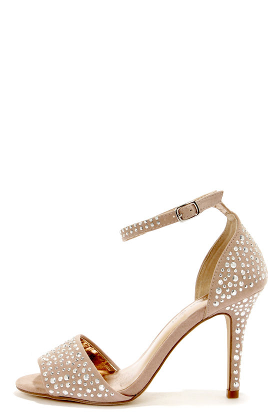 Madden Girl Stargazr Blush Rhinestone Single Strap Heels at Lulus.com!