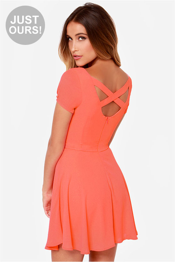 Pretty Coral Dress - Short Sleeve Dress - $42.00