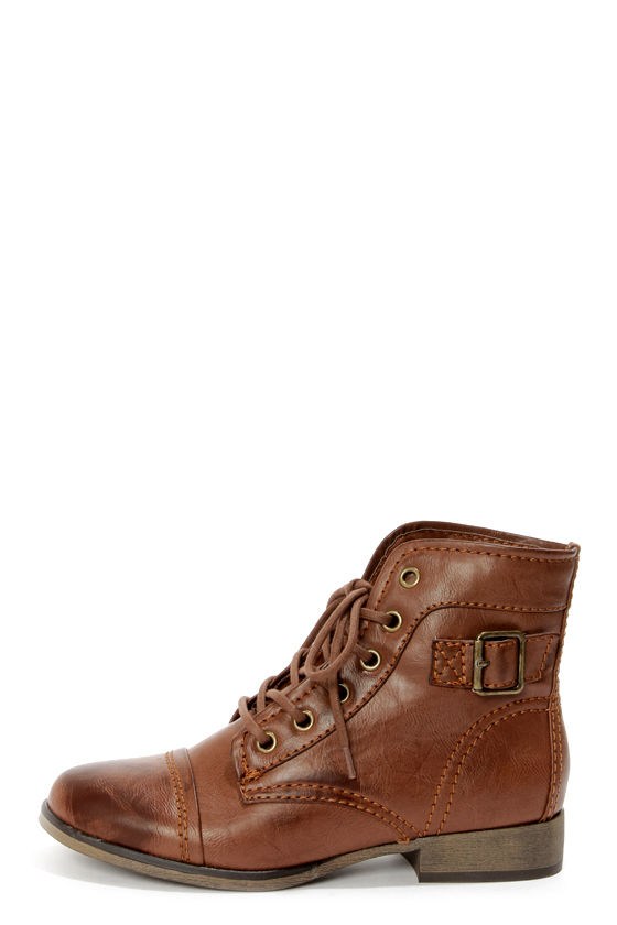 Madden Girl Armie Cognac Lace-Up Ankle Boots - $59.00
