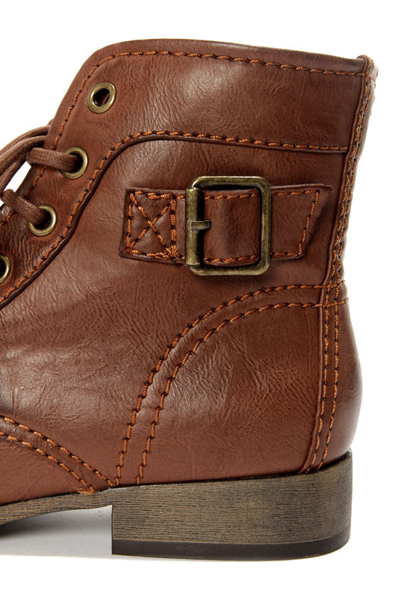 Madden Girl Armie Cognac Lace-Up Ankle Boots at Lulus.com!