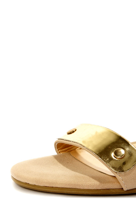 Promise Picken Nude Gold-Plated Wedge Sandals at Lulus.com!