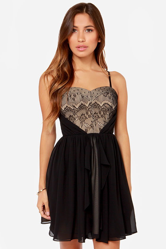 Night at the Opera Strapless Black Lace Dress at Lulus.com!