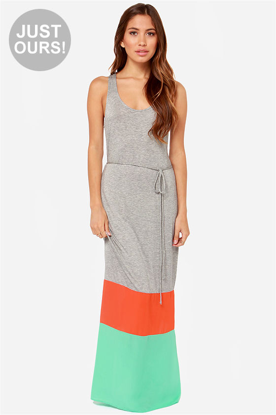 Cute Color Block Dress - Maxi Dress - $37.00