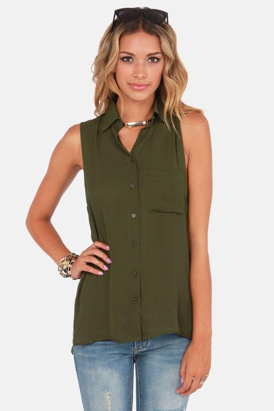 Cute Army Green Top - Tunic Top - Sleeveless Top - $39.00