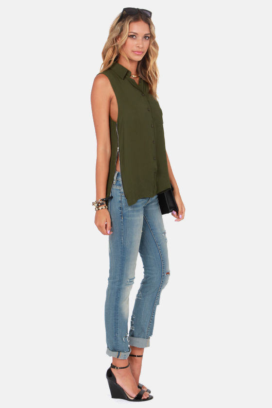 Have a Nice Zip Sleeveless Army Green Tunic Top at Lulus.com!