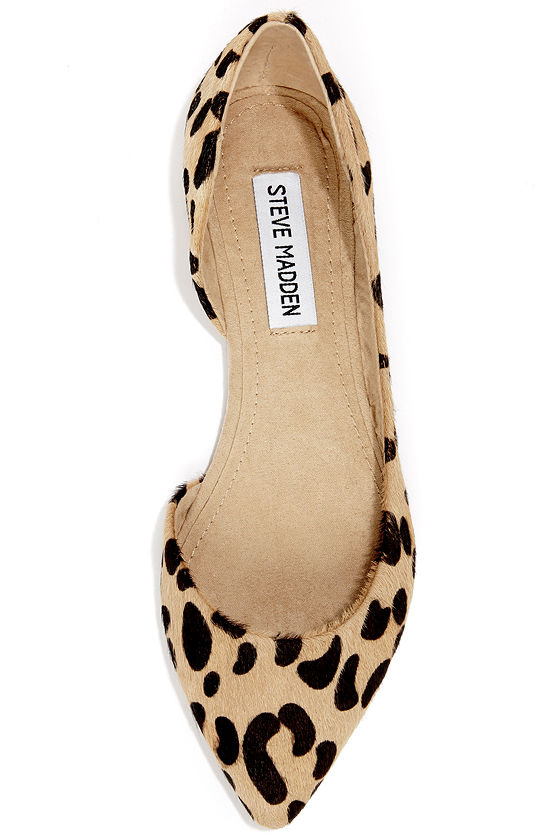 Steve Madden Elusion Leopard Pony Fur D'Orsay Flats at Lulus.com!