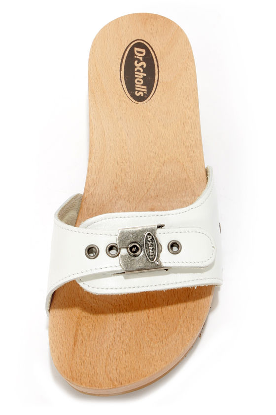Dr. Scholl's Original White Buckled Leather Slide Sandals at Lulus.com!