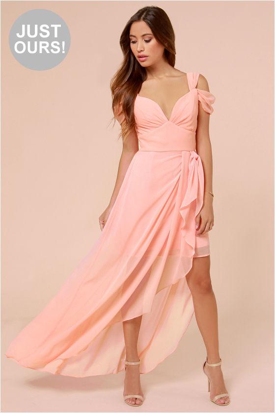 Pretty Peach Dress Maxi Dress Formal Dress 65 00