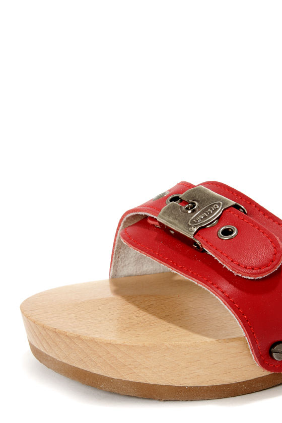 Dr. Scholl's Original Red Buckled Leather Slide Sandals at Lulus.com!