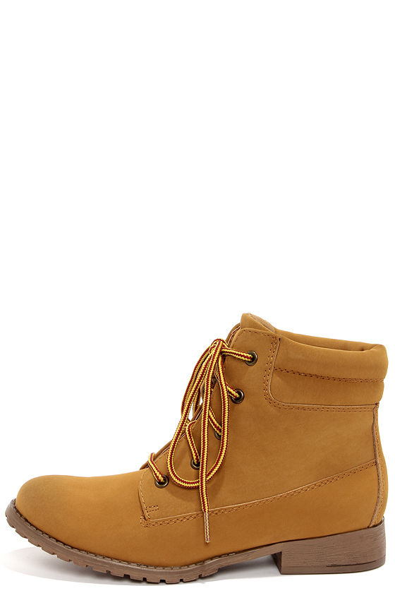 Cute Tan Boots - Work Boots - Workboots - Utility Booties - $59.00