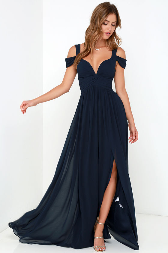 Elegant Navy Blue Dress - Maxi Dress - Cocktail Dress - Prom Dress ...