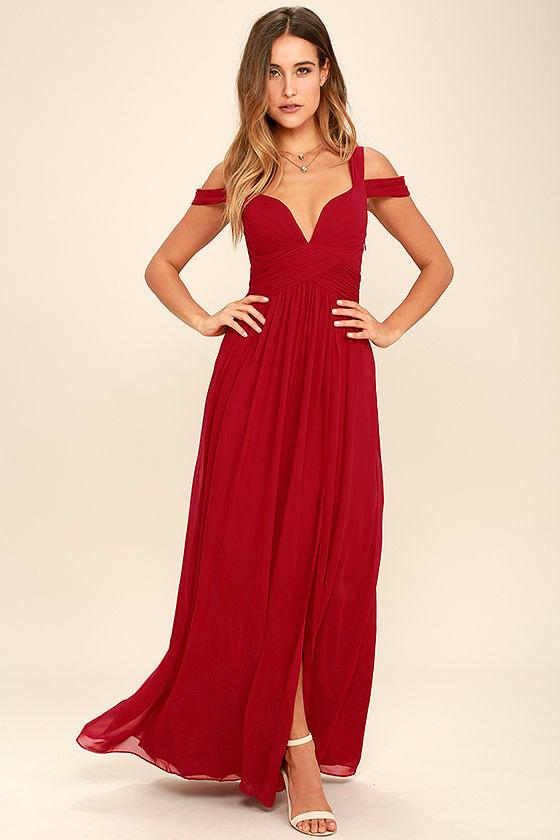 Elegant Wine Red Dress - Maxi Dress - Cocktail Dress - Prom Dress ...
