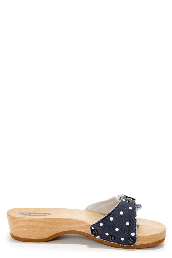 Dr. Scholl's Original Navy and White Polka Dot Slide Sandals at Lulus.com!