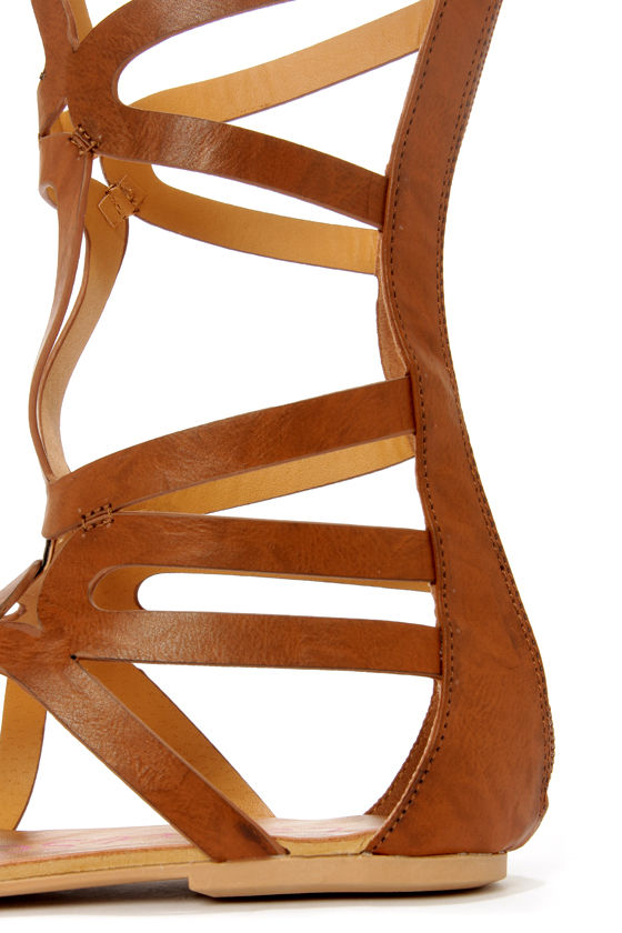 Heart Soul Cleopatra Camel Tall Caged Gladiator Sandals at Lulus.com!