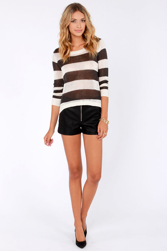 Billabong Hide Away Luv Grey and Ivory Striped Sweater at Lulus.com!