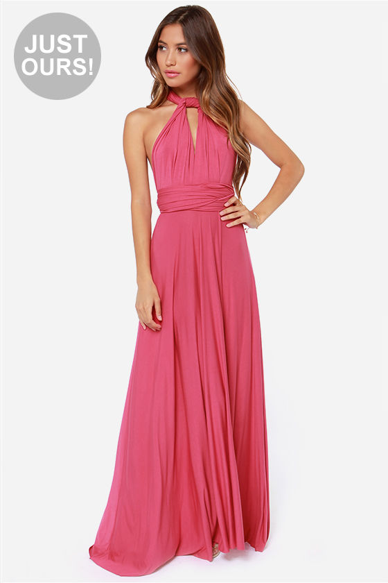 Awesome Rose Pink Dress - Maxi Dress - Wrap Dress - $78.00