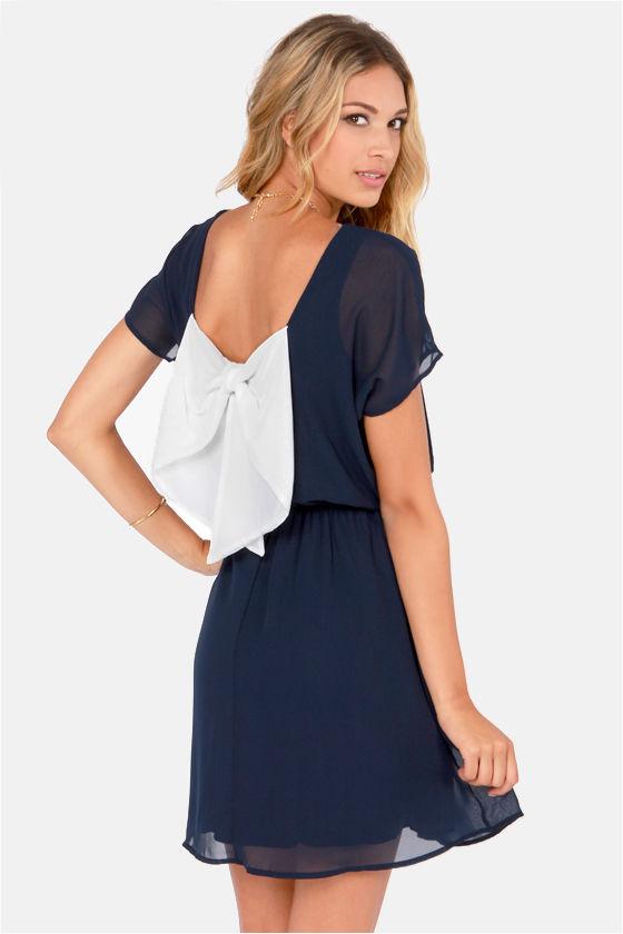 Cute Navy Blue Dress - Bow Dress - $41.00