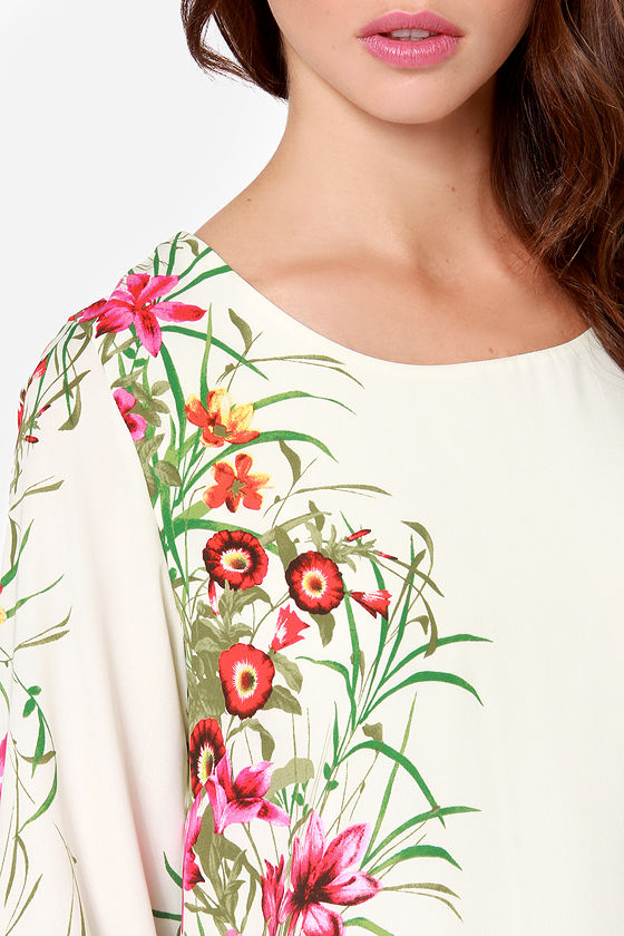 All Along The Watch Flower Cream Floral Print Dress at Lulus.com!