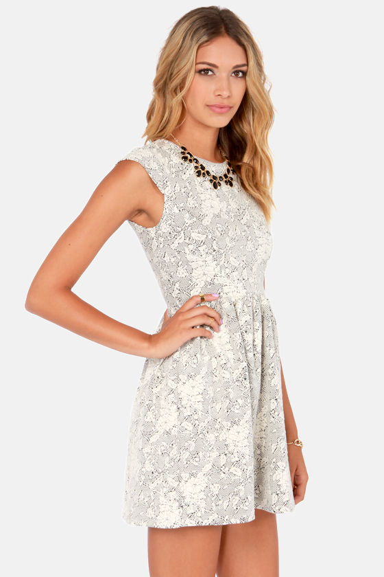 Others Follow Stepford Black and Ivory Lace Dress at Lulus.com!