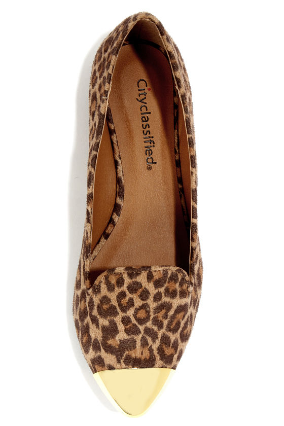 City Classified Miso Tan Cheetah Gold Cap-Toe Smoking Loafers at Lulus.com!