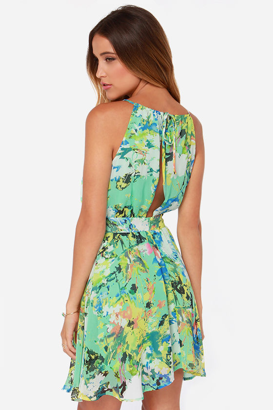 LULUS Exclusive Fun-tasia Green Print Dress at Lulus.com!