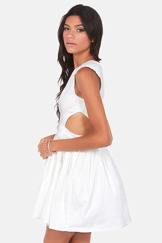 Brat Pack Cutout Ivory Dress at Lulus.com!
