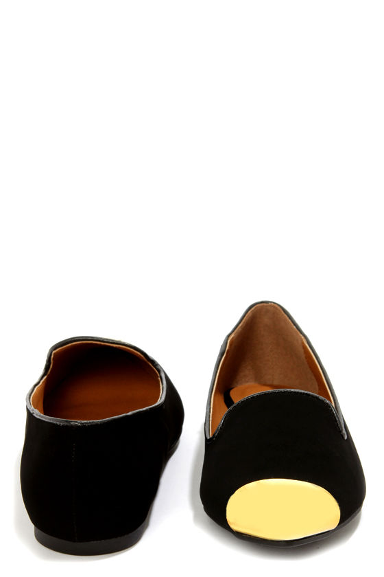 City Classified Miso Black Gold Cap-Toe Pointed Smoking Loafers at Lulus.com!